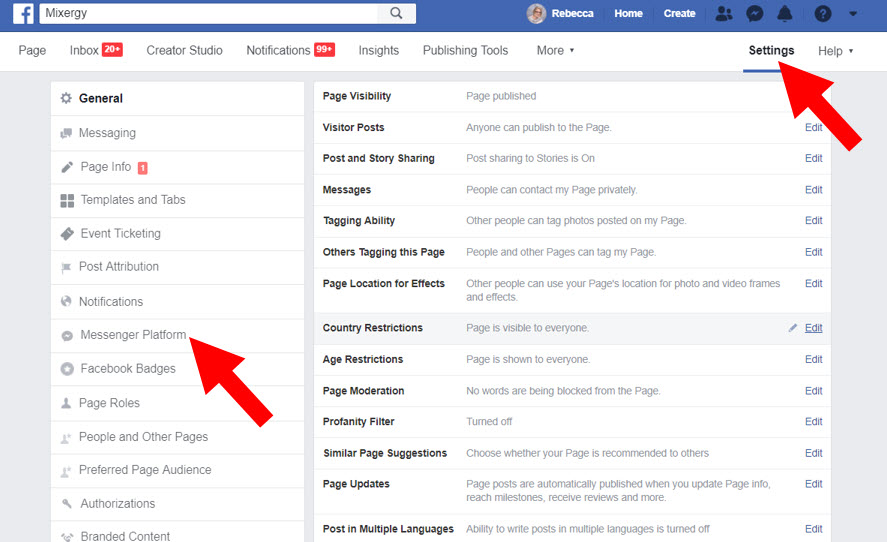 Facebook page settings - Messenger Platform