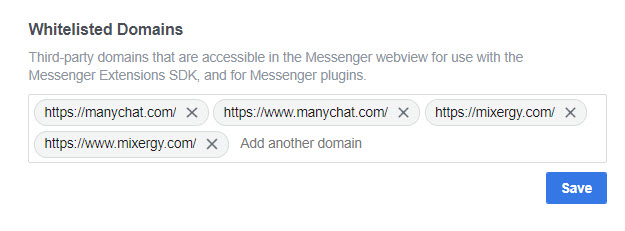 whitelist domains on facebook page settings